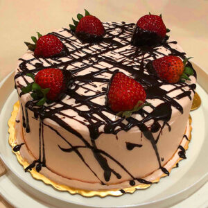 Japanese Cheesecake - Strawberry and Chocolate Drizzle